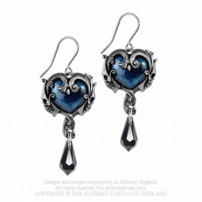 Affaire du Coeur Earrings by Alchemy England - Heart with Skulls