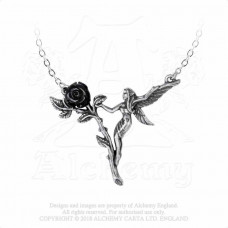 Faerie Glade Necklace by Alchemy England - Fairy with Black Rose