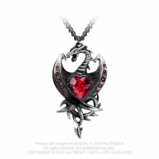 Diamond Heart Pendant by Alchemy England - Dragon with Crystal