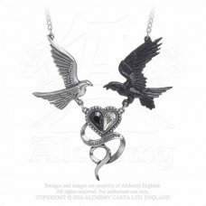 Epiphany of St. Corvus Necklace by Alchemy England - Dove and Raven Heart