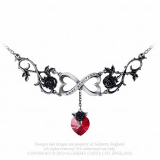 Infinite Love Necklace by Alchemy England - Heart with Black Roses