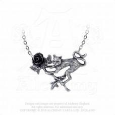 Rosenkatze Necklace by Alchemy England - Cat with Black Rose