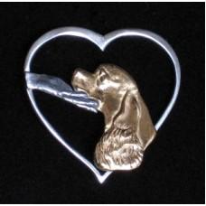 Amerikansk Cocker Spaniel i Mitt Hjärta för Evigt Brosch nr D26FH-B