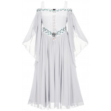 Acacia Maxi Petite Medieval Dress in size S - 5X in White Ivory