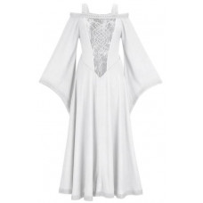 Aisling Maxi Tall Medieval Dress in size S - 5XL in White Ivory