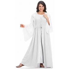 Bronwyn Maxi Medieval Two Piece Dress Set in size S-5X in Ivory White