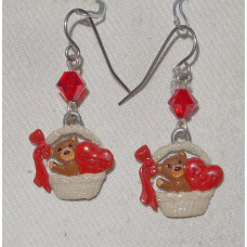 Basket with Teddybear and Heart Handpainted Earrings No. e13063