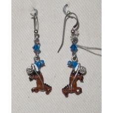 Horse Harness Racing in Blue Earrings No. e13170