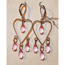 Heart with Pink Drops Earrings No. e14050