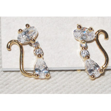 Cat Earrings Studs Gold Plated with Cubic Zirconia