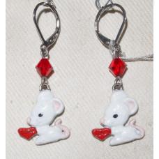 Mouse with Heart Earrings No. e14148