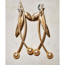 Bamboo twig with Beads Earrings No. e14169