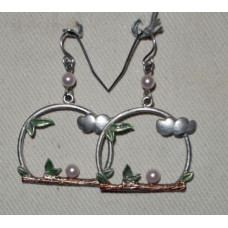 Branch with bow and pearl earrings No. e14174