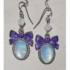 Cabochon in Light Blue with Purple Details Handpainted Earrings No. e14183