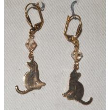 Cat Golden Silhouette Earrings No. e15217