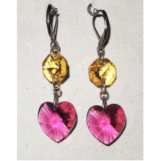 Crystal Heart in Fuchsia Earrings No. e17007