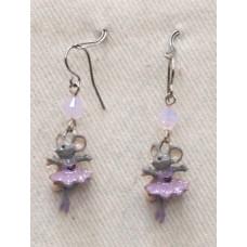 Dancing Mouse in Purple Earrings No. e17018