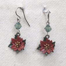 Flower Poinsettia Earrings No. e17027 - Christmas Flower