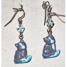 Cat on Blue Cushion Earrings No. e17091