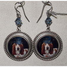Basset Hound in Top Hat Cameo Steampunk Earrings No. e17103