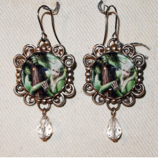 Dragon Cameo Earrings with Crystal Drop - Kindred Spirits by Anne Stokes No. e18114
