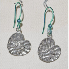 Frog on Water Lily Leaf Earrings No. e18142