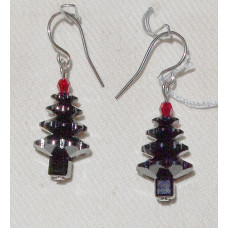 Christmas Tree of Black Crystal Pearls Earrings No. e18160