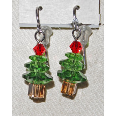 Christmas Tree of Green Crystal Pearls Earrings No. e18165