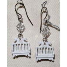 Garden Bench with Doves Earrings No. e19030 - White