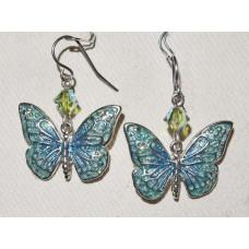 Butterfly in Blue and Green Enamel Earrings No. e19142