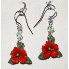 Flower Red Hibiscus Earrings no e19230 - Christmas Flower