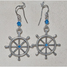 Boating Ship's Wheel Earrings No. e19241 - with Blue Crystal