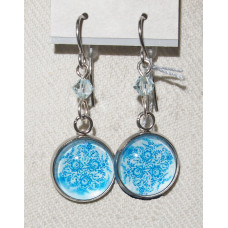 Floral Cameo Blue Delft Flower pattern Earrings No. e20042