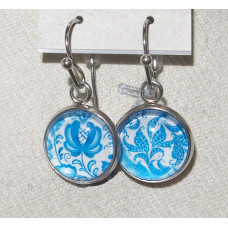 Floral Cameo Blue Delft Leaf pattern Earrings No. e20044