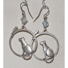 Cat in Circle with Mouse Earrings No. e20055