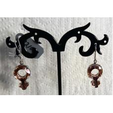 Feminine Crystal in Pink Earrings No. e21002 - Venus Symbol