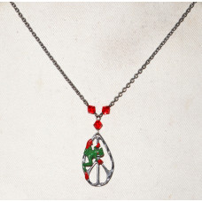 Frog Green Rain Forrest Frog on Peace Sign Necklace No. n12236