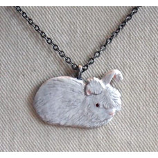 Angora Rabbit Handpainted Pendant and Chain No. n14045
