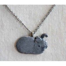 Angora Rabbit Handpainted Pendant and Chain No. n14046