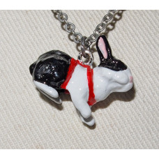 Rabbit in Harness 3-D Handpainted Pendant and Chain No. n15234