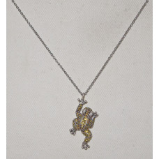 Frog covered with yellow rhinestone Necklace No. n16150