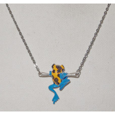 Frog Yellow-banded Poison Dart on branch Necklace No. n16150