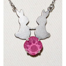 Rabbits in Pair Silhouette above Swarovski Crystal Pendant and Chain No. n17152