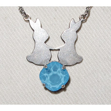 Rabbits in Pair Silhouette above Swarovski Crystal Pendant and Chain No. n17196
