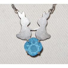 Kaniner i Par Siluett över Swarovskikristall Hänge med Kedja nr n17196