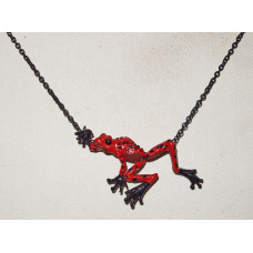Frog Red and Black Poison Dart Cordhugger Necklace No. n18016