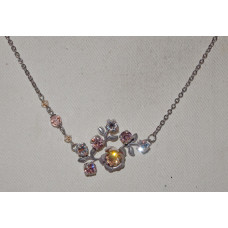 Rose with Leaves and Crystal Necklace No. n18093