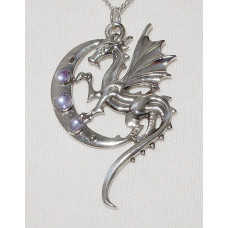 Luna Dragon Pendant for Strength on Life's Journey - Dragon with Moon