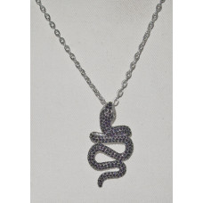 Snake Pendant with Black Cubic Zirconia and Chain No. n19054