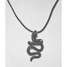 Snake Pendant with Black Cubic Zirconia and Leather Cord No. n19055